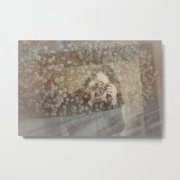Woman In Mirror Metal Print