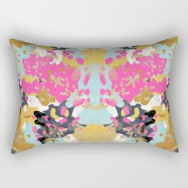 Laurel - Abstract painting in a free style with bold colors gold, navy, pink, blush, white, turquois Rectangular Pillow