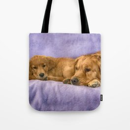 Golden Retriever with puppy Tote Bag