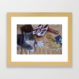 The gold digger with cat Framed Art Print