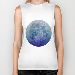Blue Moon geometric circle mixed media Biker Tank