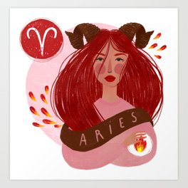 Aries Zodiac Illustration Art Print