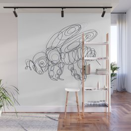Honey Bee Line Drawing Wall Mural