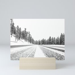 Snow Road // Snowy Winter Wonderland Black and White Landscape Photography Ski Poster Mini Art Print