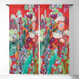Red floral Jungle Garden Botanical featuring Proteas, Reeds, Eucalyptus, Ferns and Birds of Paradise Blackout Curtain