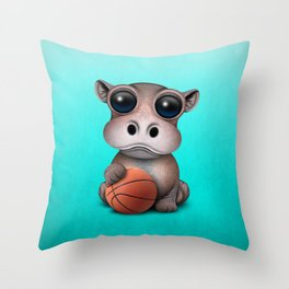 Cute Baby Hippo Playing With Basketball Throw Pillow