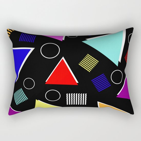 Fun Retro - Triangles, rings and waves patterned design, blue, red, purple, pink, yellow Rectangular Pillow