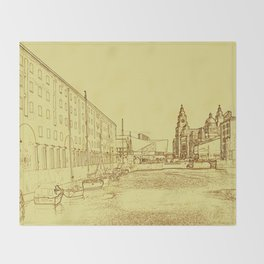 Albert Dock, Liverpool (Digital Art) Throw Blanket