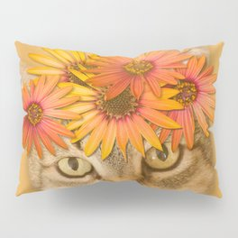 Tabby Cat with Daisy Flower Crown, Mustard Yellow Background Pillow Sham