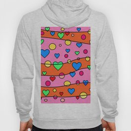 Floating Hearts and Circles - Pink Orange Hoody