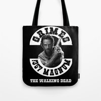 rick grimes Tote Bags featuring Rick Grimes & .357 Magnum by SwanniePhotoArt