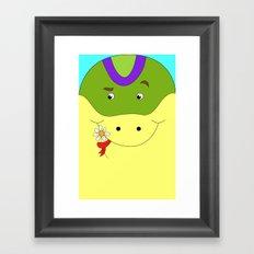 Cute snake in love children's illustration Framed Art Print