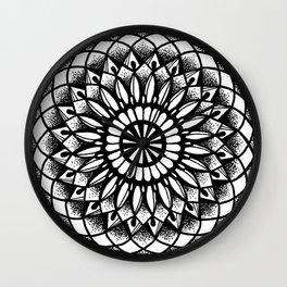 Petal Mandala Ink Drawing Wall Clock