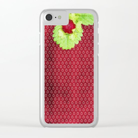 Strawberry LOVE - Strawberries pattern and Illustration Clear iPhone Case