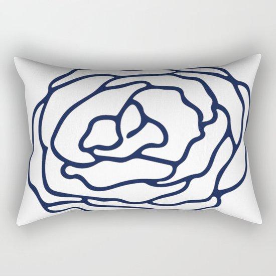 Rose Nautical Navy on White Rectangular Pillow