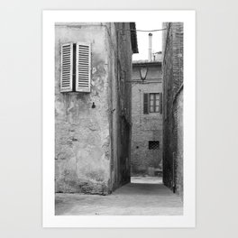 Black and white view of Siena Art Print