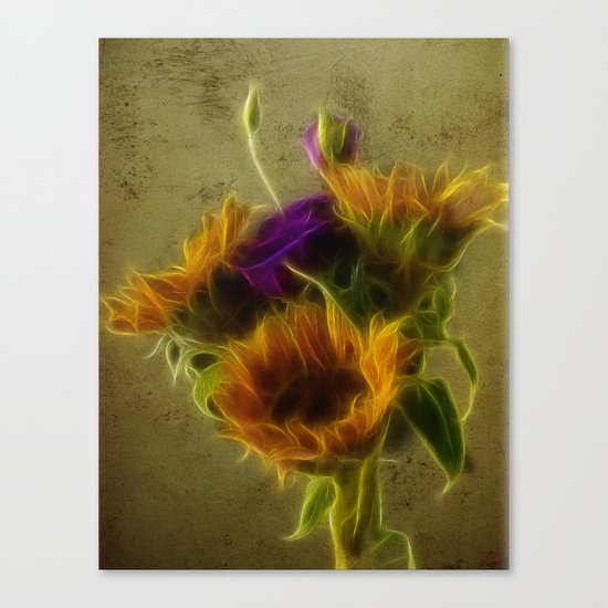 Three sunflowers and a Lisianthus Canvas Print