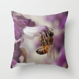 Worker Bee on Mexican Sage Throw Pillow