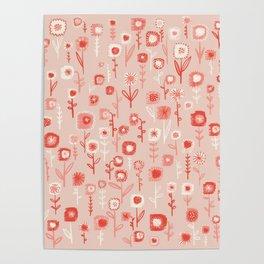 Pink Ditsy Flower Garden Poster