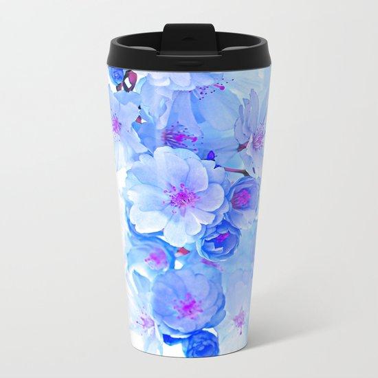 Cherry Blossom.Blue Metal Travel Mug