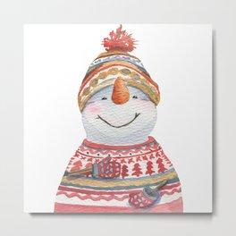Cute snowman in winter sweater and hat 2020 art Metal Print