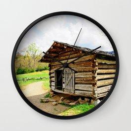 Historic Log Cabin Wall Clock
