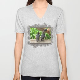 The Adult Barn Swallow Arrives with Lunch for One Unisex V-Neck