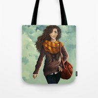 hermione Tote Bags featuring Hermione Granger by agartaart
