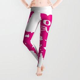 Magenta cat, cat pattern, cat design Leggings