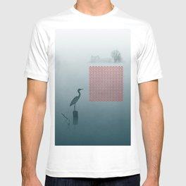 Heron in foggy morning T-shirt