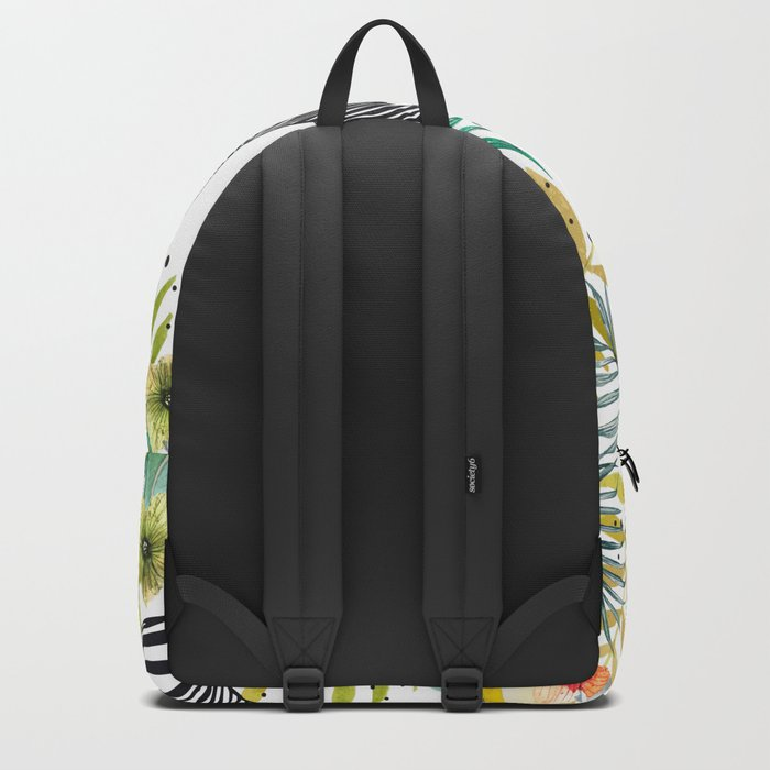 Zebra, cactus and flowers Backpack