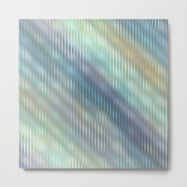 Modern Abstract, Striped, Reflective Light Glass, Optical Illusion, Pastel, Teal, Purple, Blue, Gold Metal Print