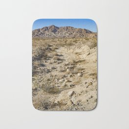 Dirt Trail Lines with Rocks Leading Back towards Granite Mountain in the Anza Borrego Desert Bath Mat
