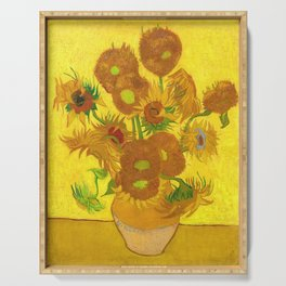 Vincent Van Gogh Fifteen Sunflowers In A Vase Serving Tray