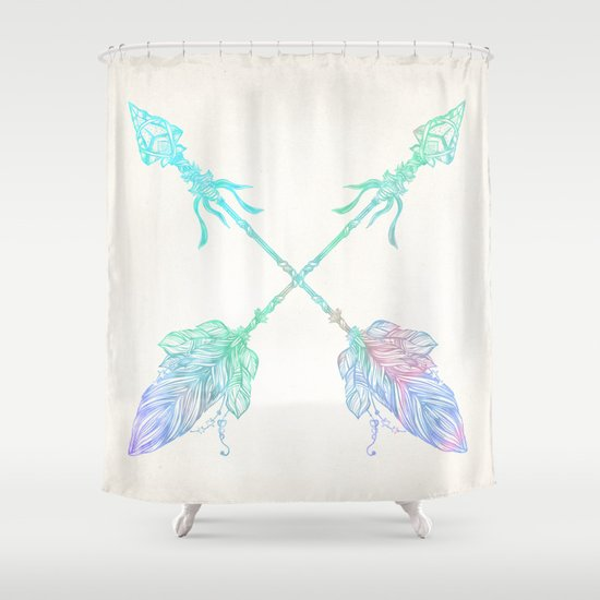 Arrows Blue Green Pink Vintage Cream Shower Curtain By Nature Magick Society6
