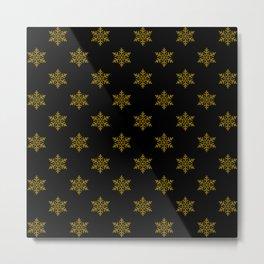 gold flakes on black pattern Metal Print