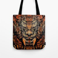 tooth Tote Bags featuring Saber Tooth by Zandonai