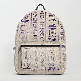 Amethyst Egyptian hieroglyphics on canvas Backpack