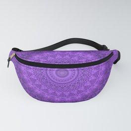 Sunflower Plum Boho Feather Pattern \\ Aesthetic Vintage Bohemian \\ Dark Violet Purple Color Scheme Fanny Pack