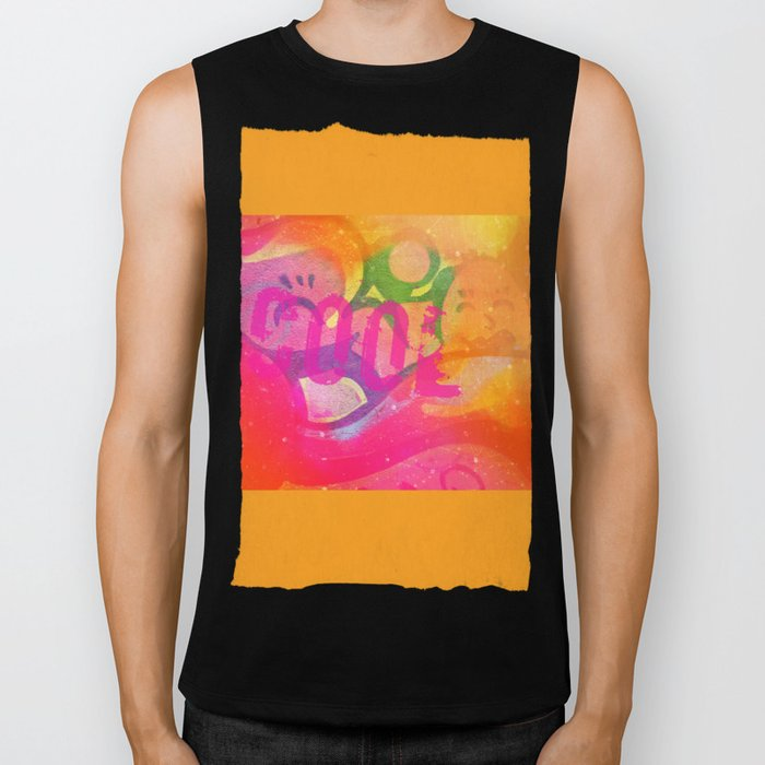 Cool colorful graffiti print in electric bright tones with two strange faces Biker Tank