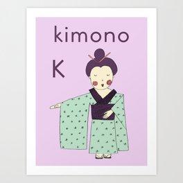 K is for Kimono Art Print