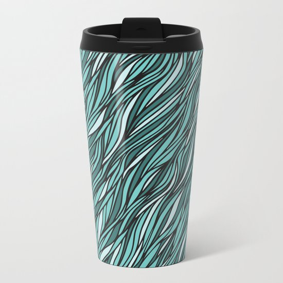 Cyan wave pattern Metal Travel Mug