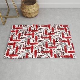 Gamer Lingo-White and Red Rug