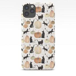 Black Cats Pumpkin Patch Fall Halloween Pattern iPhone Case