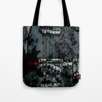 rock n roll Tote Bags featuring Rock 'n Fucking Roll by Eric Rasmussen