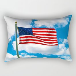 American Flag in Big Blue sky Rectangular Pillow