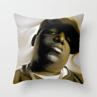 biggie smalls Throw Pillows featuring The Notorious B.I.G (Biggie Smalls) by darylrbailey