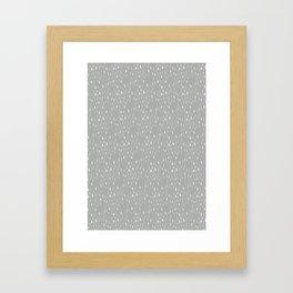 Raindrops on grey Framed Art Print