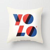 yolo Throw Pillows featuring Yolo by Wharton