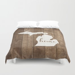 Michigan is Home - White on Wood Duvet Cover